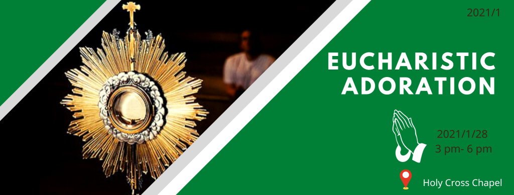 Eucharistic Adoration will be held at the Holy Cross Chapel from 15h00 to 18h00 on the 28th of January 2021.