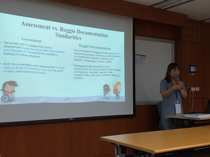 "Picture 1. PhD student Annie Choi presented her doctoral study topic ""Finding a better way to assess young children in a kindergarten classroom""."