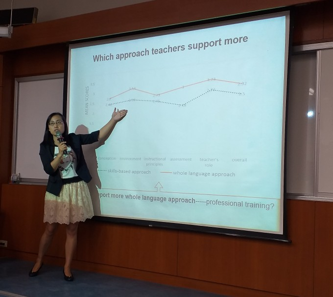 "Picture 5. Prof. Susannah Sun presented ""Kindergarten teachers' beliefs about Chinese early literacy instruction""."